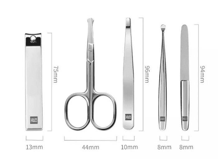 Размеры инструментов маникюрного набора Huo Hou Stainless Steel Nail Clippers