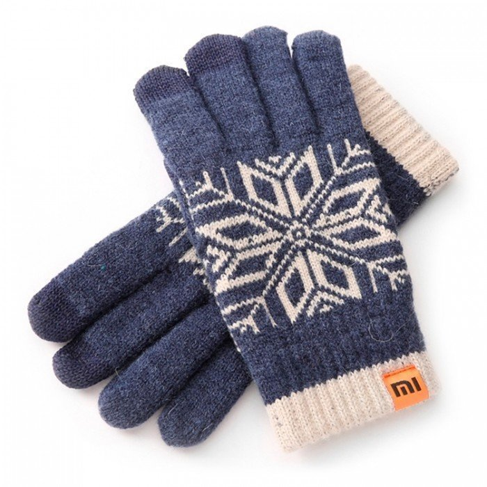 Xiaomi Mi Wool Screen Touch Gloves Mens (Blue White)