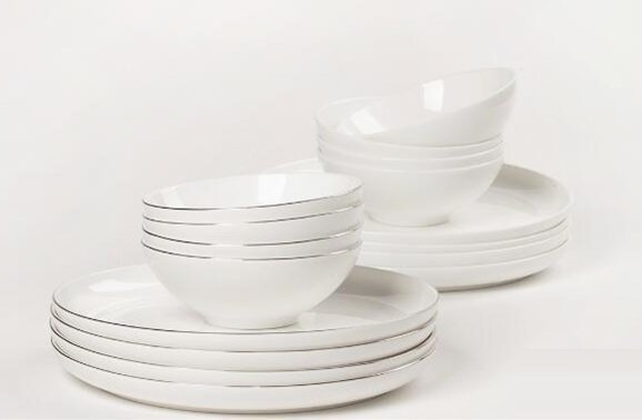 Royal Bone China Dishes 4+4 pcs (White)