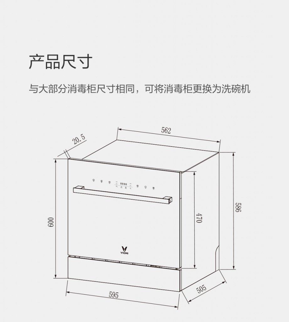 Габариты новой посудомоечной машины Сяоми