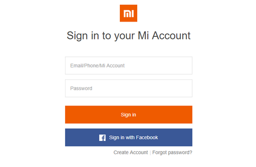 Поле для входа в Mi-аккаунт