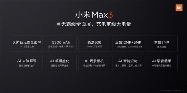 Характеристики Mi Max 3, опубликованные Лин Бином