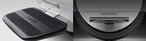 Вид на подножку и шину моноколеса Xiaomi NineBot One S2